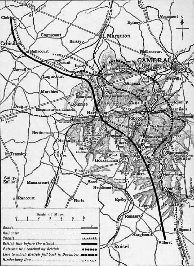 Map showing the area fought over during the Battle of Cambrai