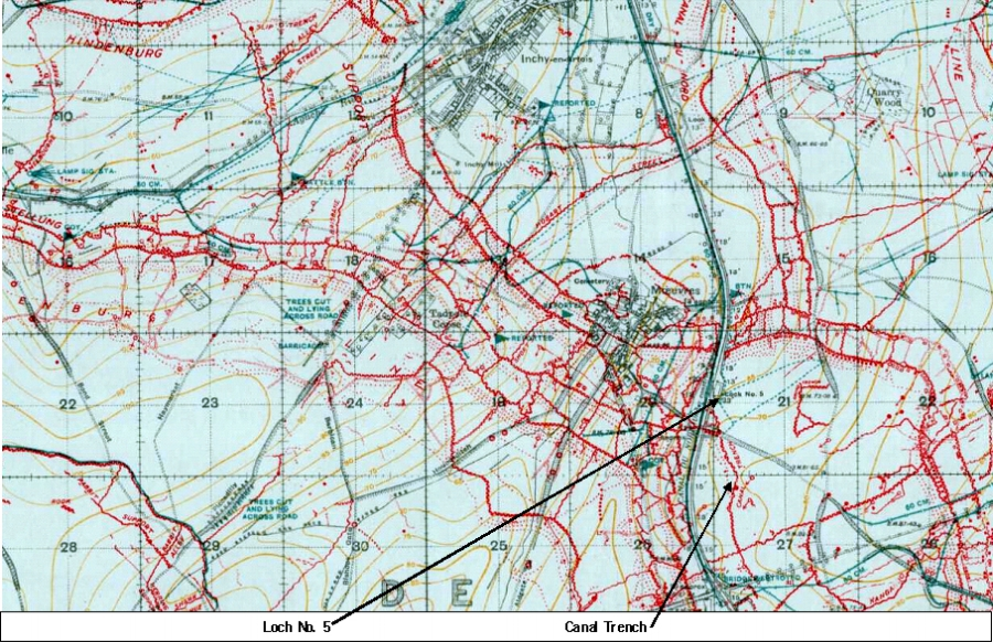Extract from the 1:20,000, 1917 trench map of the area around Moeuvres {special sheet, edition 6G, showing parts of 57C.NW, 57C.NE, 57C.SW and 57C.SE, with the trenches corrected to 14 December 1917}