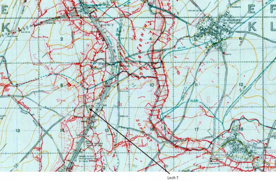 Further extract from the 1:20,000, 1917 trench map of the area around Moeuvres {special sheet, edition 6G, showing parts of 57C.NW, 57C.NE, 57C.SW and 57C.SE, with the trenches corrected to 14 December 1917}