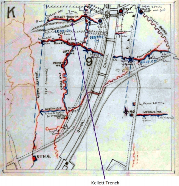 Extract from the War Diary of the 2nd South Staffordshire Regiment: A map showing the deployment of the Battalion on 24 December 1917