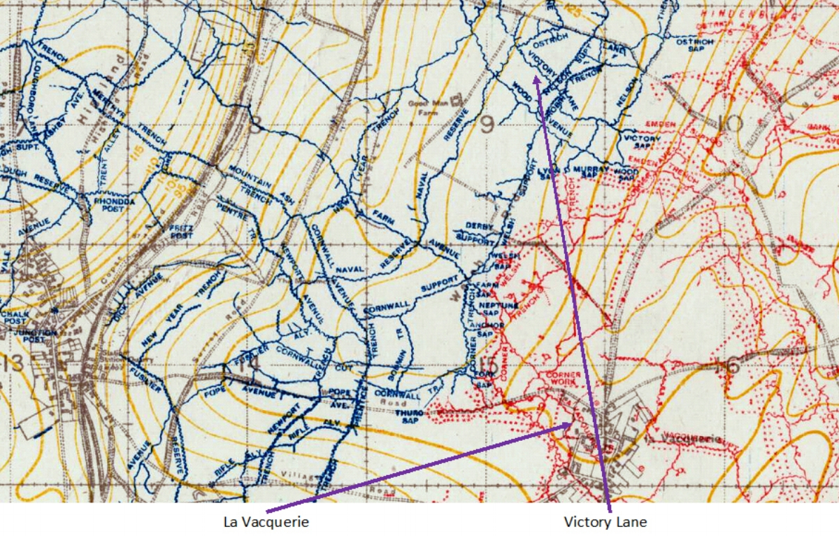 Extract from the 1:20,000, January 1918 trench map, edition 6D, showing the area around La Vacqueries
