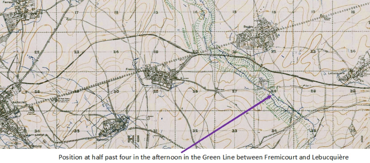 Extract from the 1:20,000, March 1918 trench map, edition 7D, showing the area around the Green Line east of Bapaume