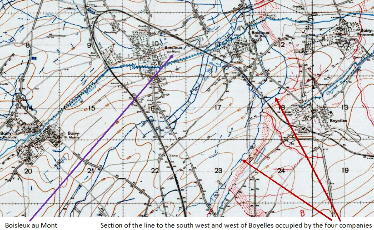 Extract from the 1:20,000, May 1918 trench map, edition 8A, showing the area around the Purple Line south of Arras {51B.SW, with the trenches corrected to 25 April 1918}