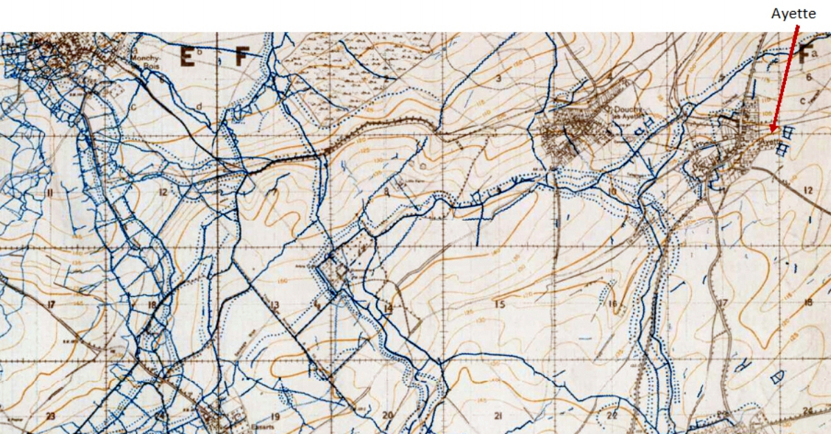 Extract from the 1:20,000, April 1918 trench map, edition 5A, showing the area around the Purple Line west and south of Ayette