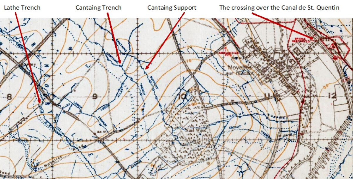 Extract from the 1:20,000, September 1918 trench map, edition 8A, showing the area around Noyelles-sur-Escaut to the east of Flesquières {57C.NE, with the trenches corrected to 21 September 1918}