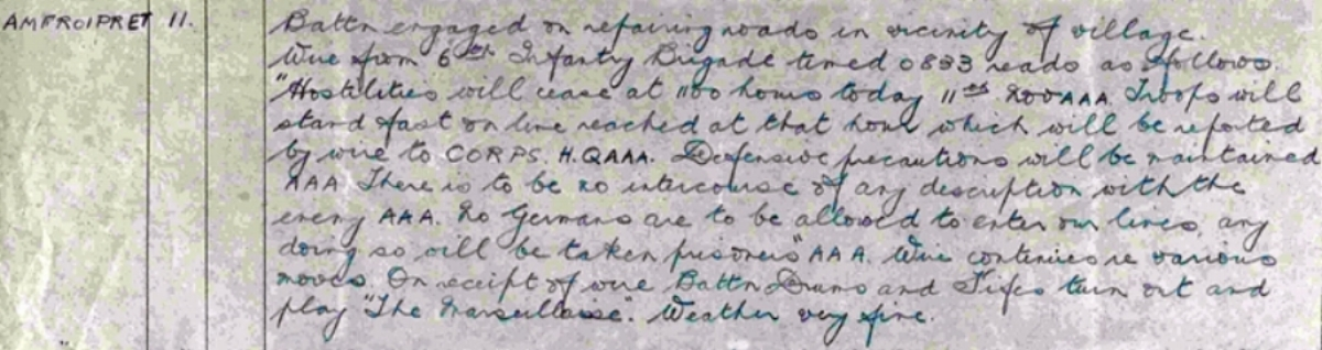 Extract from the War Diary of the 2nd South Staffordshire Regiment for 11 November 1918 recording the Battalion's receipt of the memorandum informing them that the Armistice would come into force at 11 o'clock that morning