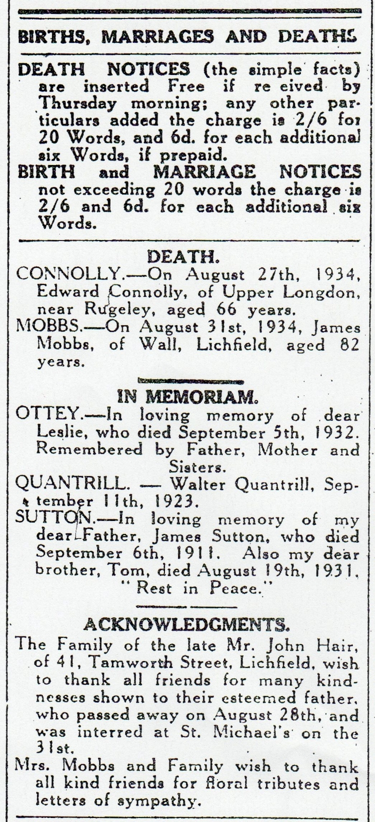 Notice of the death of James Mobbs and the family's acknowledgment from the Lichfield Mercury edition of 7 September 1934