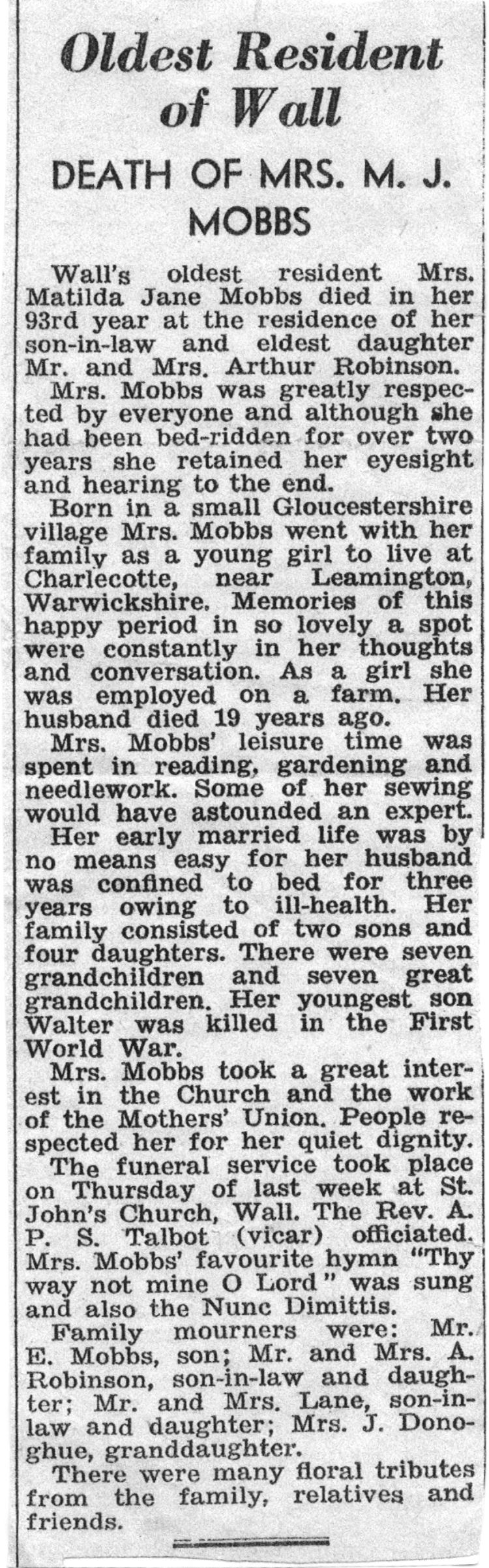 Newspaper clipping from the Lichfield Mercury about the life and death of Walter's mother