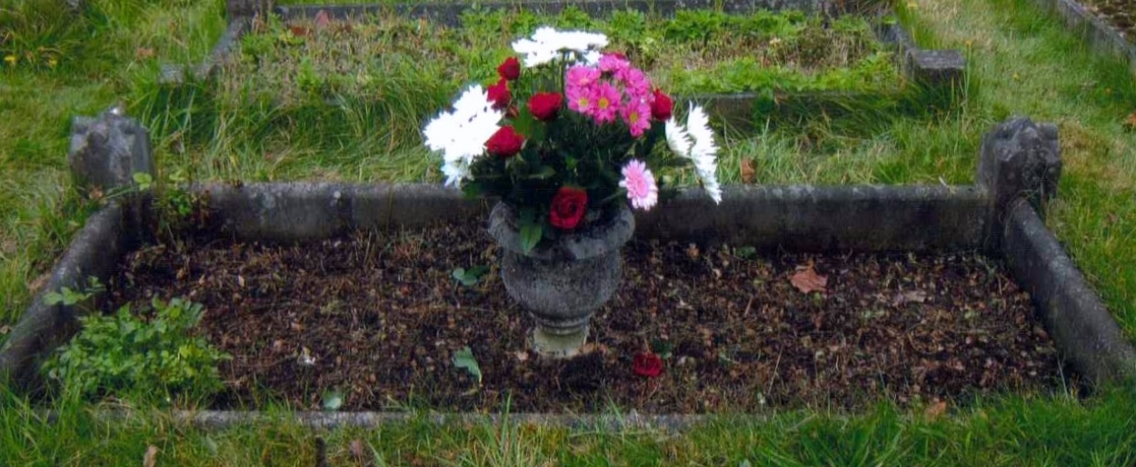 Photograph of the grave of Walter's mother, Matilda Jane Mobbs, in the Parish Church of St John the Baptist, Wall, Staffordshire