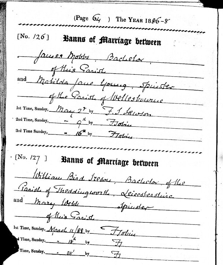 Copy of the 1886 marriage banns for James Mobbs and Matilda Jane Young from St. Leonard's Parish Church, Charlecote