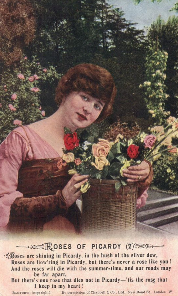 "Postcard featuring the second verse from the song ""Roses of Picardy"""