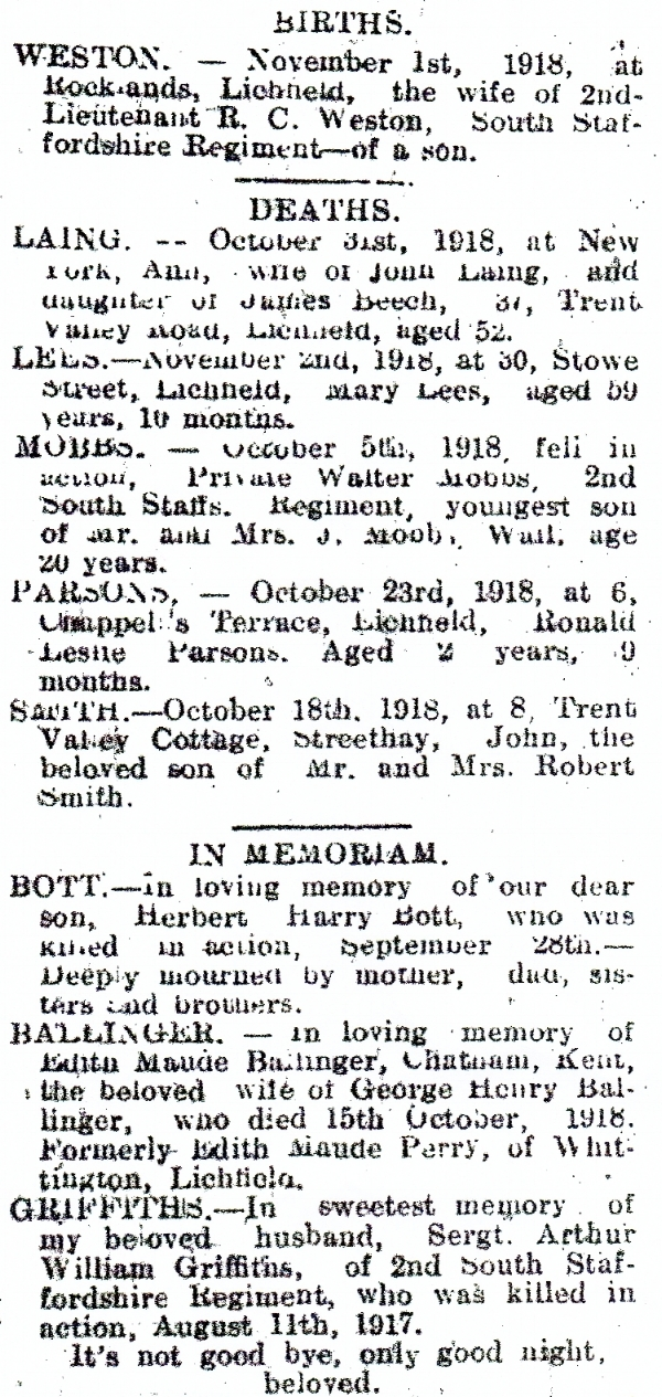 Notice of the death in action of Walter Mobbs from the Lichfield Mercury edition of 8 November 1918