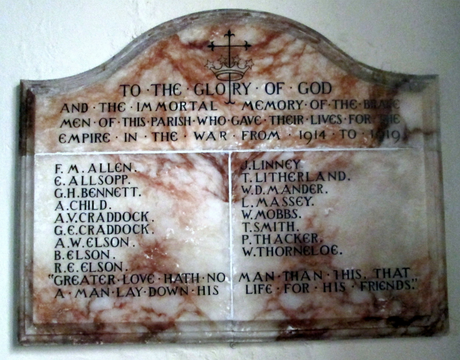 Photograph of the War Memorial in the Parish Church of St John the Baptist, Wall, Staffordshire