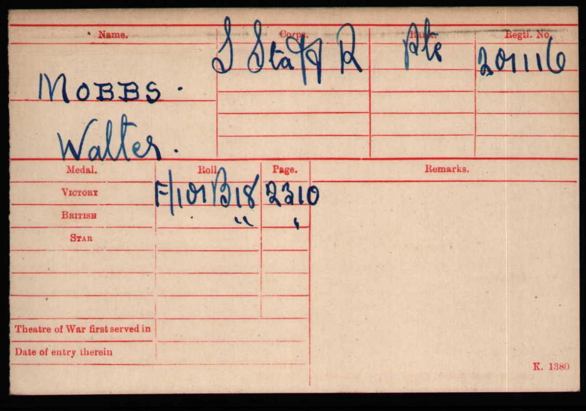 The medal card for Private Walter Mobbs (201116), 2nd Battalion South Staffordshire Regiment