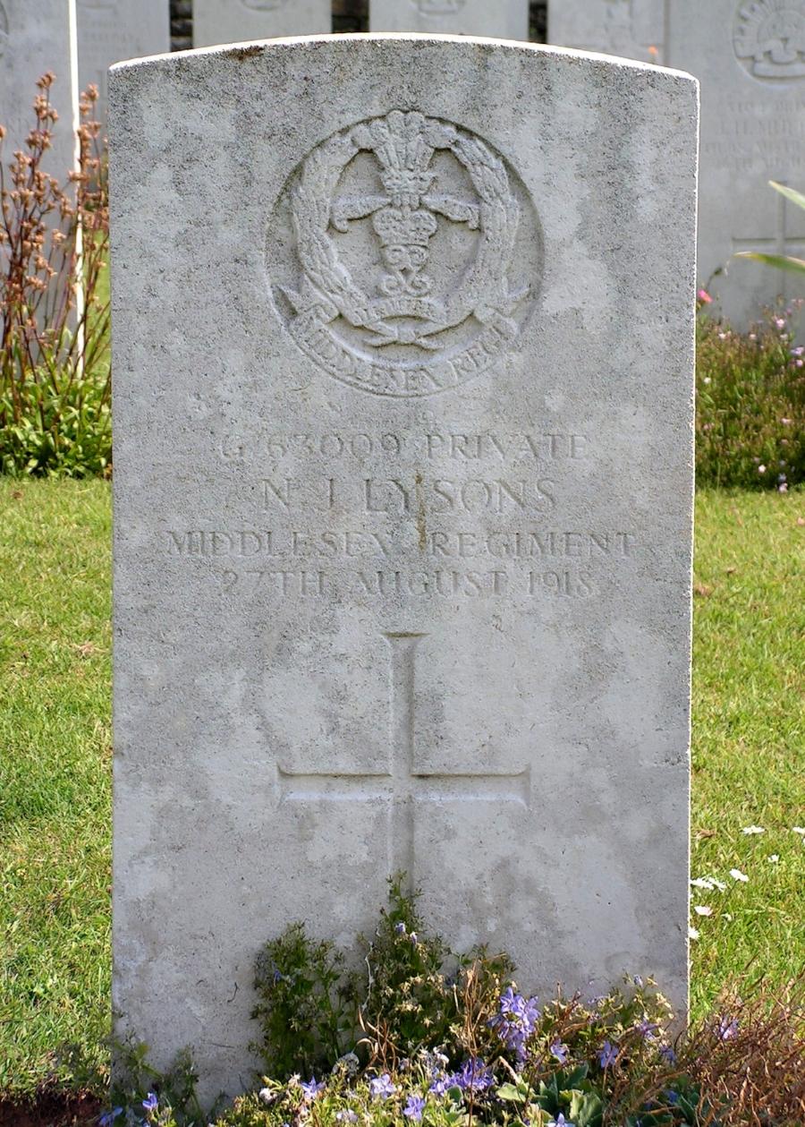 The grave of Private Noah John Lysons