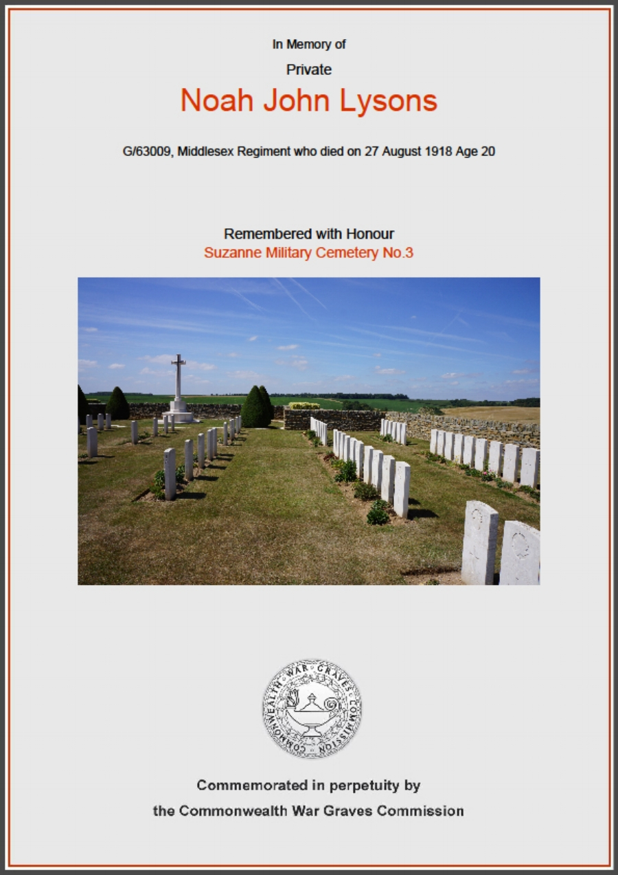 Commonwealth War Graves Commission certificate in memory of Private Noah John Lysons