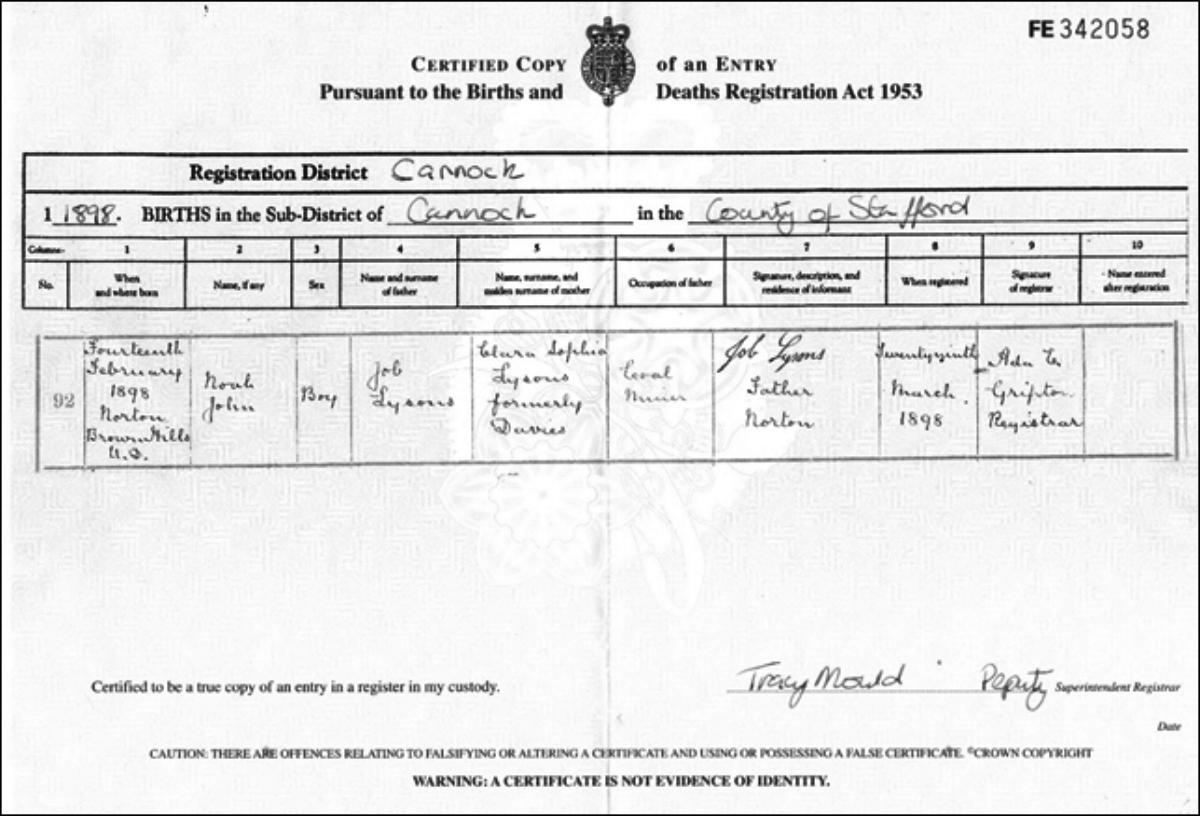 Copy of Noah John Lysons's birth certificate