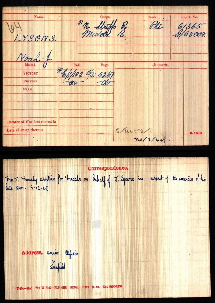 The medal card for Private Noah John Lysons (61365), 3rd Battalion North Staffordshire Regiment, (G/63009) 7th Battalion London Regiment, Duke of Cambridge's Own (Middlesex) Regiment