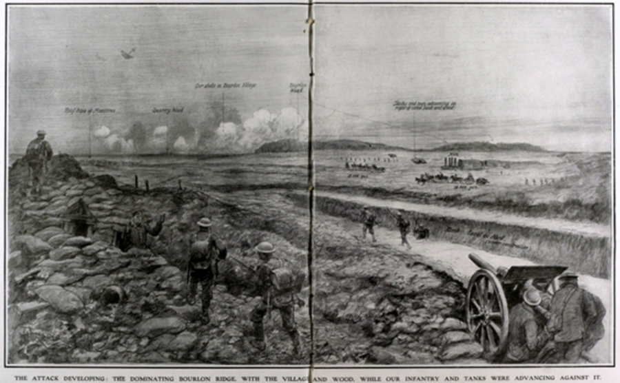 The Sweep Up To Bourlon Ridge {from The Illustrated London News}