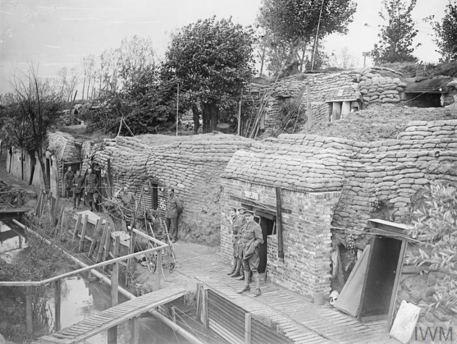 British officers outside their dug outs on the banks of the Yser Canal, Ypres, in August 1917