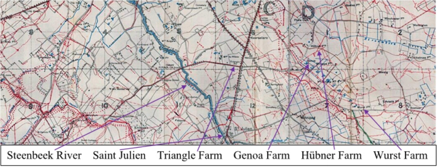 Section of the British WW1 Trench map 28 NW 2 & 28 NE 1 (Saint Julien - Zonnebeke) Scale 1:10000 Edition 6A, trenches corrected to 30 June 1917