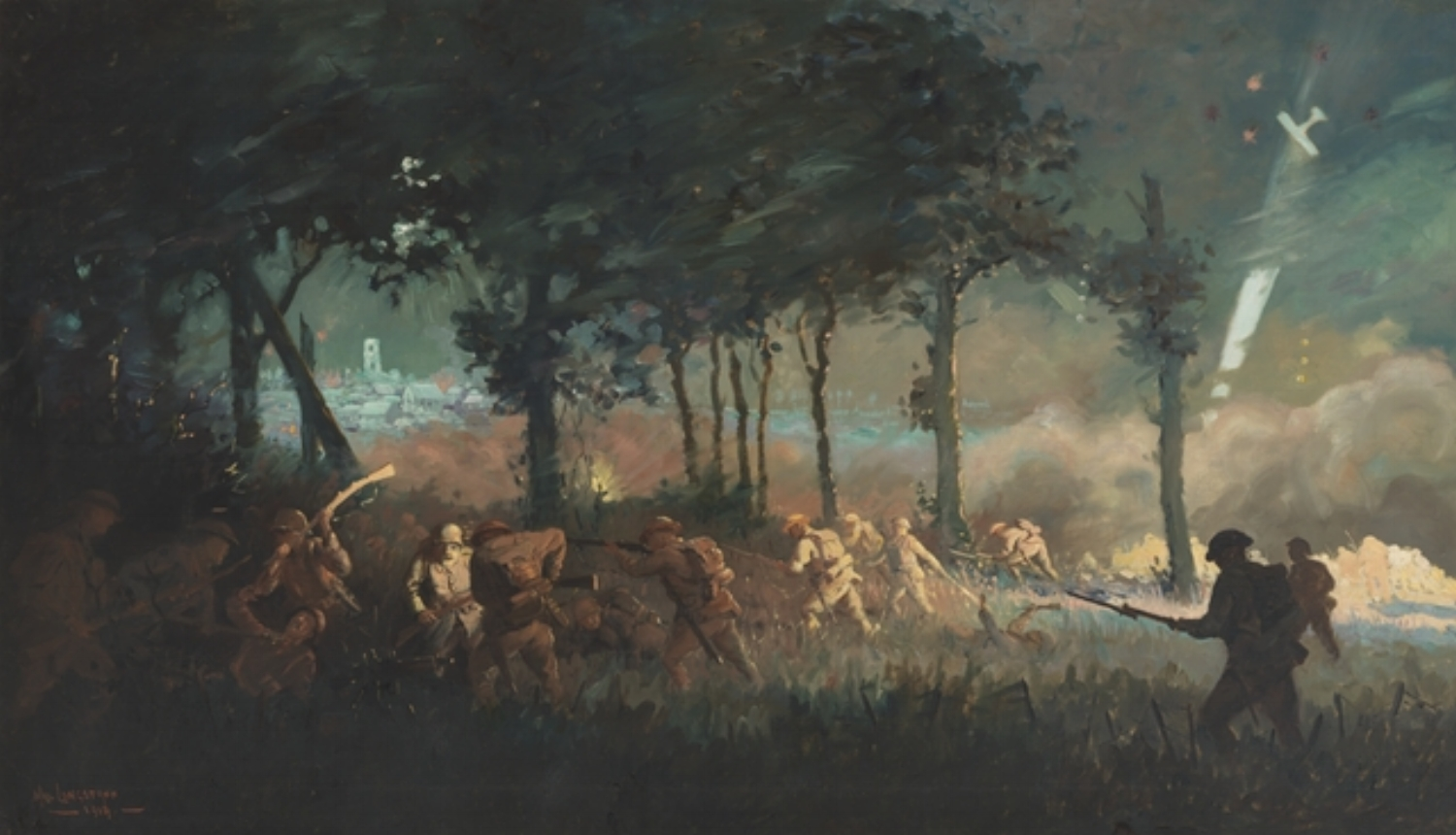 """"""" Night attack by 13th Brigade on Villers-Bretonneux"""" painted by the Australian artist Will Longstaff {Captain William Frederick Longstaff (1879–1953)}"""