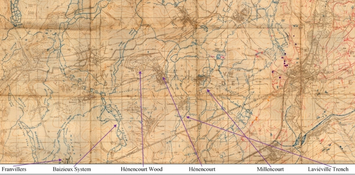 Section of the British WW1 Trench map Senlis [Albert] Parts of 57D SE, 57D SW, 62D NE and 62D NW, Scale 1:20000 Edition 1, trenches corrected to 18 May 1918