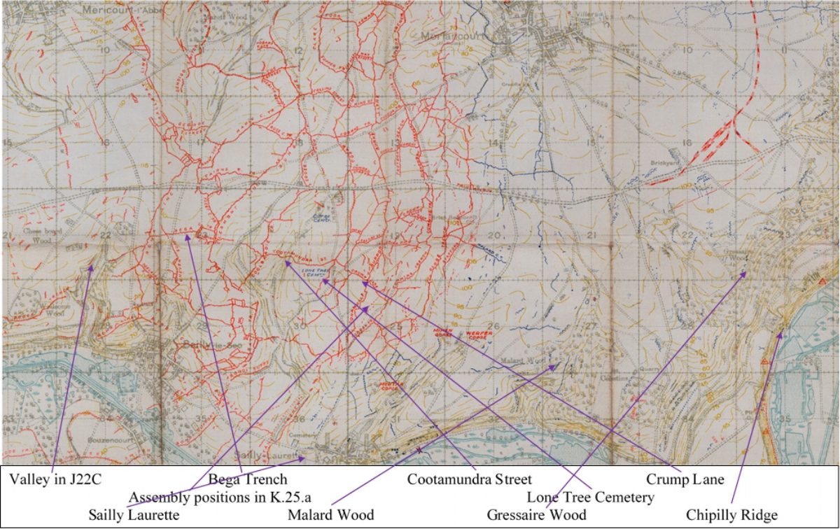 Section of the British WW1 Trench map 62D NE, Scale 1:20000 Edition 3B, trenches corrected to 3 August 1918
