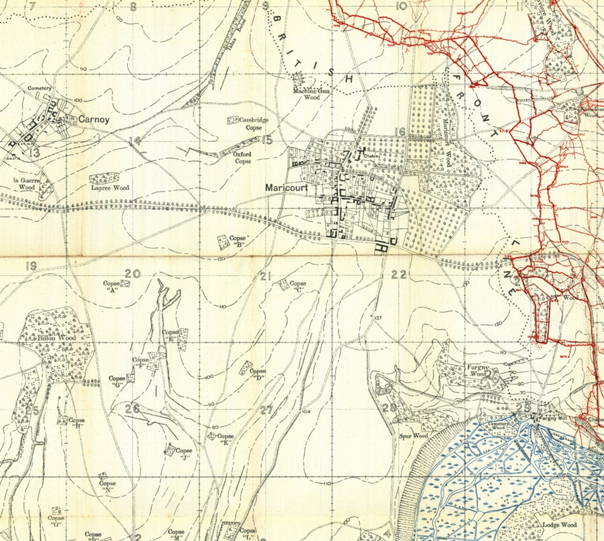Section of the British WW1 Trench map 62C NW 1:10000 Edition A, trenches corrected to 3 January 1916