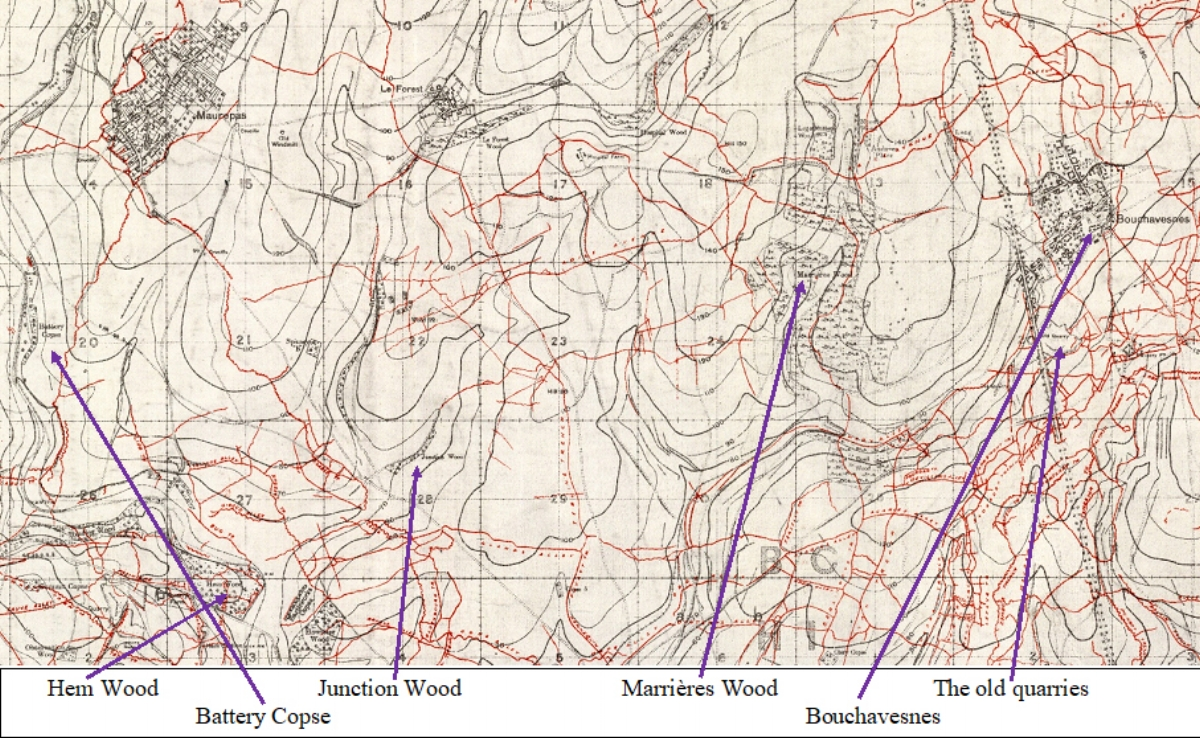 Section of the British WW1 Trench map 62C NW Scale 1:20000 Edition 4B, trenches corrected to 6 March 1918