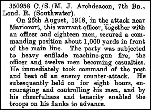 Citation that appeared on page 2414 of the Supplement to the London Gazette on 18 February 1919 regarding the award of the Distinguished Conduct Medal to Company Sergeant Major John Archdeacon