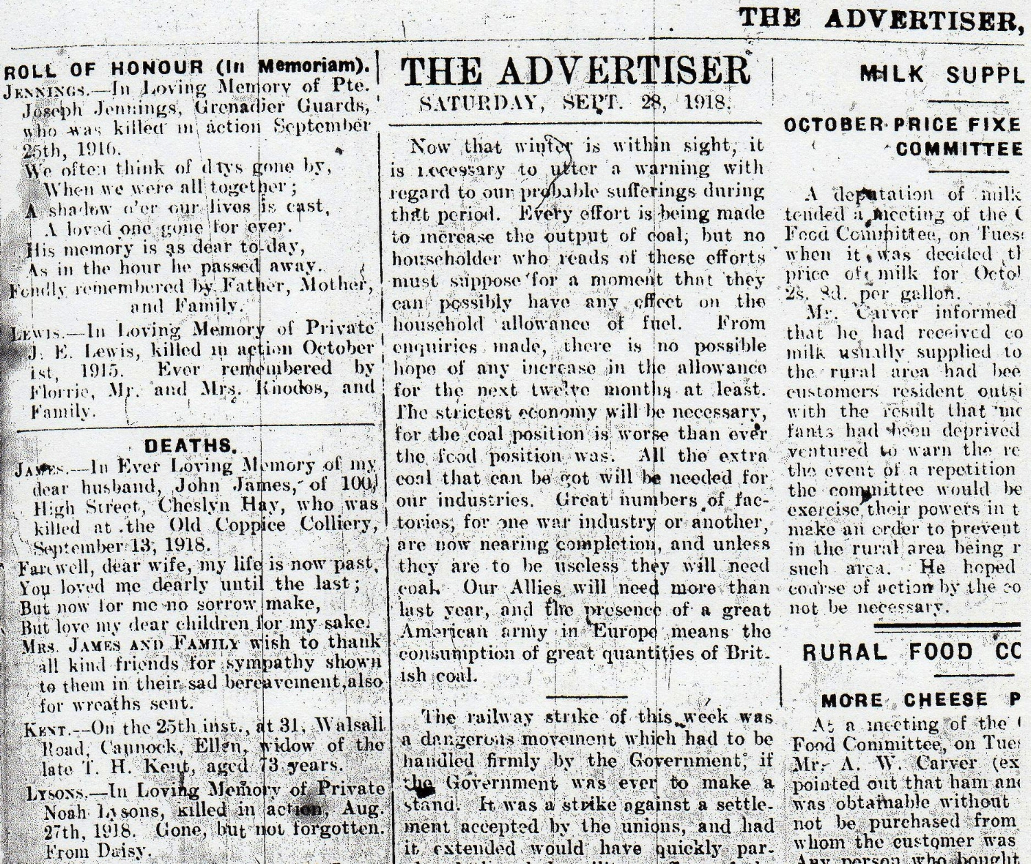 Family notice from the 28 September 1918 edition of the Cannock Advertiser