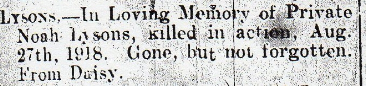 Enlargement of the family notice from the 28 September 1918 edition of the Cannock Advertiser