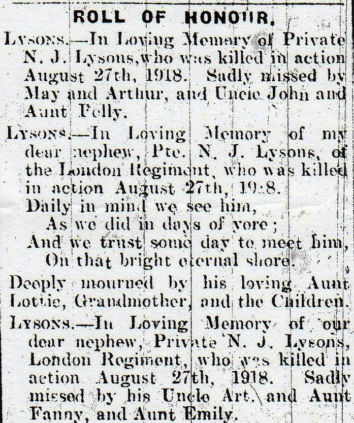 Enlargement of the family notices from the 5 October 1918 edition of the Cannock Advertiser