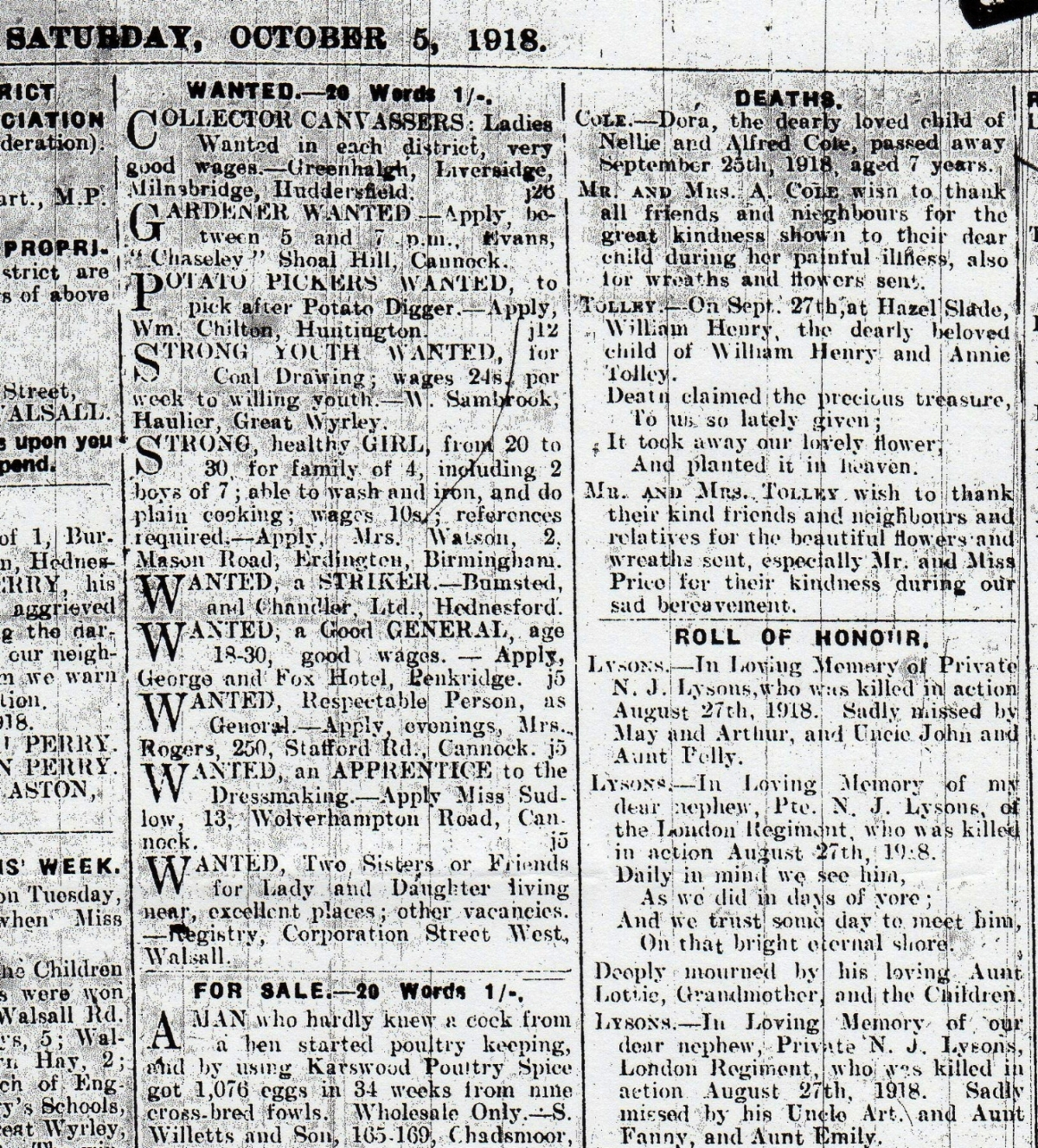 Family notices from the 5 October 1918 edition of the Cannock Advertiser