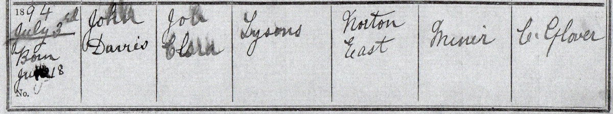 The baptism register for the Norton East Primitive Methodist Church, Norton Canes, Staffordshire, showing the baptism of Noah's other brother John Davies Lysons
