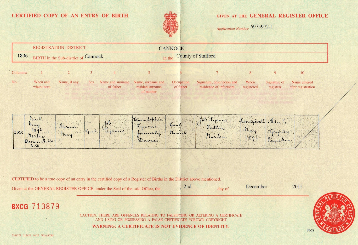 Copy of the birth certificate for Noah's sister Florence May Lysons