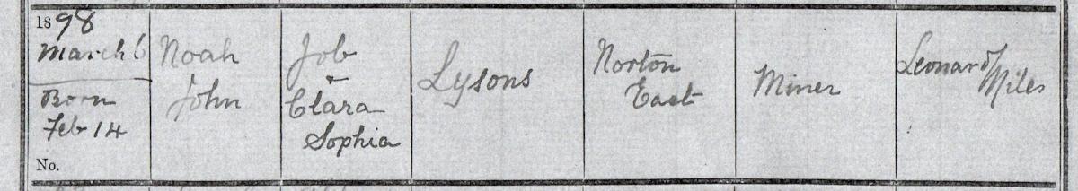 The baptism register for the Norton East Primitive Methodist Church, Norton Canes, Staffordshire, showing the baptism of Noah John Lysons