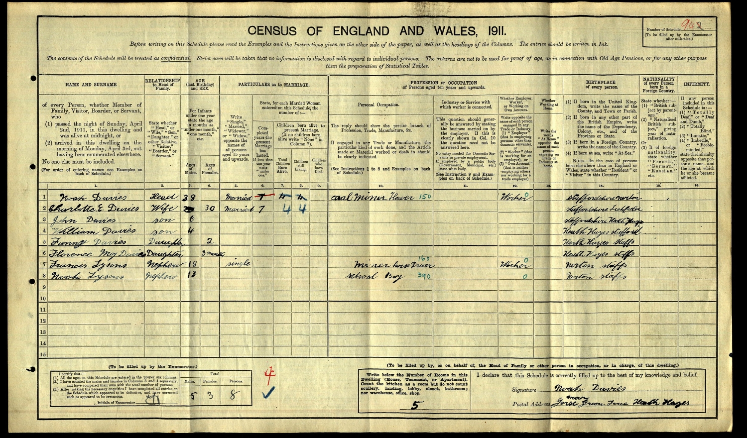 1911 Census entry for Noah and Frank Lysons