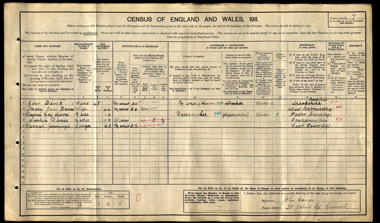 1911 Census entry for Florence May Lysons