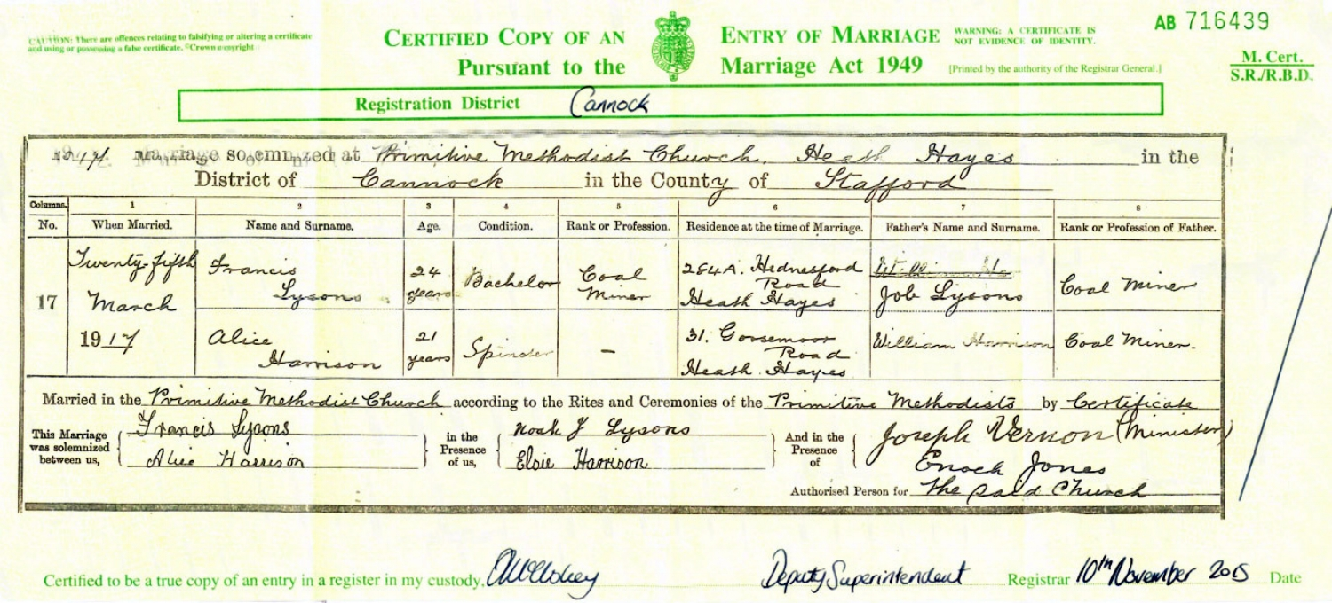 Copy of the 1917 marriage certificate for Noah's brother Francis (Frank) Lysons and Alice Harrison