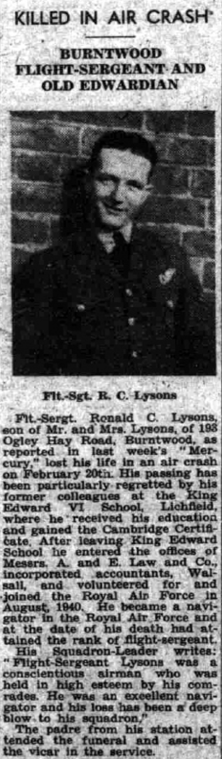Extract from the 10 March 1944 edition of the Lichfield Mercury regarding the death in an air crash of Ronald Cecil Lysons