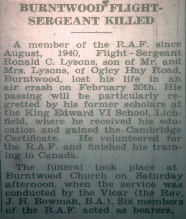 Extract from the 3 March 1944 edition of the Lichfield Mercury regarding the death in an air crash of Ronald Cecil Lysons