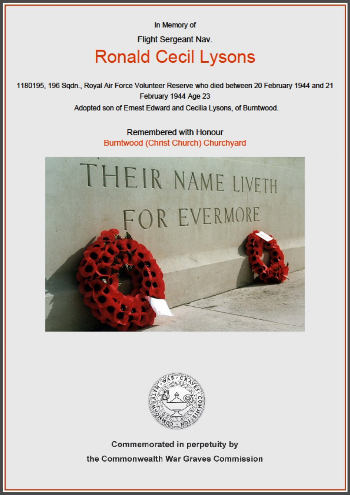 Commonwealth War Graves Commission Certificate in memory of Flight Sergeant Ronald Cecil Lysons
