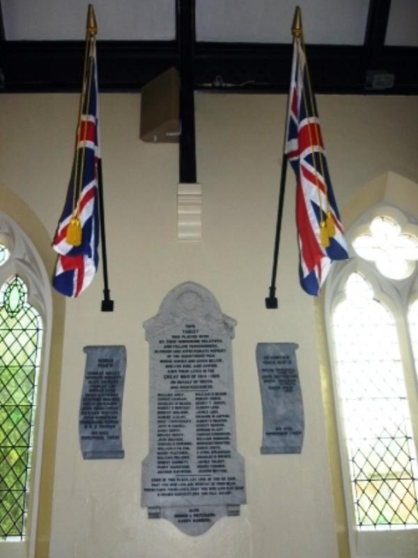 Photograph of the War Memorial inside Burntwood Christ Church
