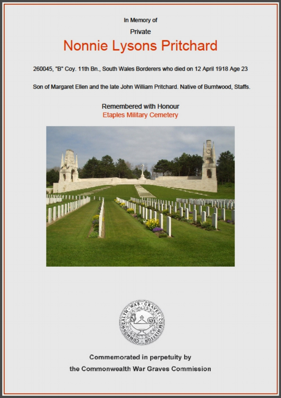 Commonwealth War Graves Commission certificate in memory of Private Nonnie Lysons Pritchard
