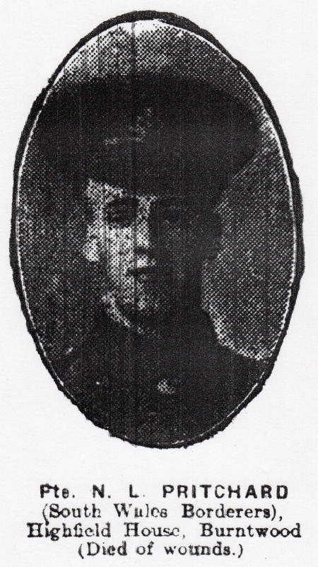 Photograph of Nonnie Lysons Pritchard from the Walsall Observer & South Staffordshire Chronicle edition of 18 May 1918