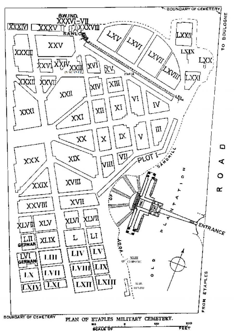 Plan of Étaples Military Cemetery The location of the grave of 260045 Private Nonnie Lysons Pritchard is Plot XXIX Row A Grave 12A