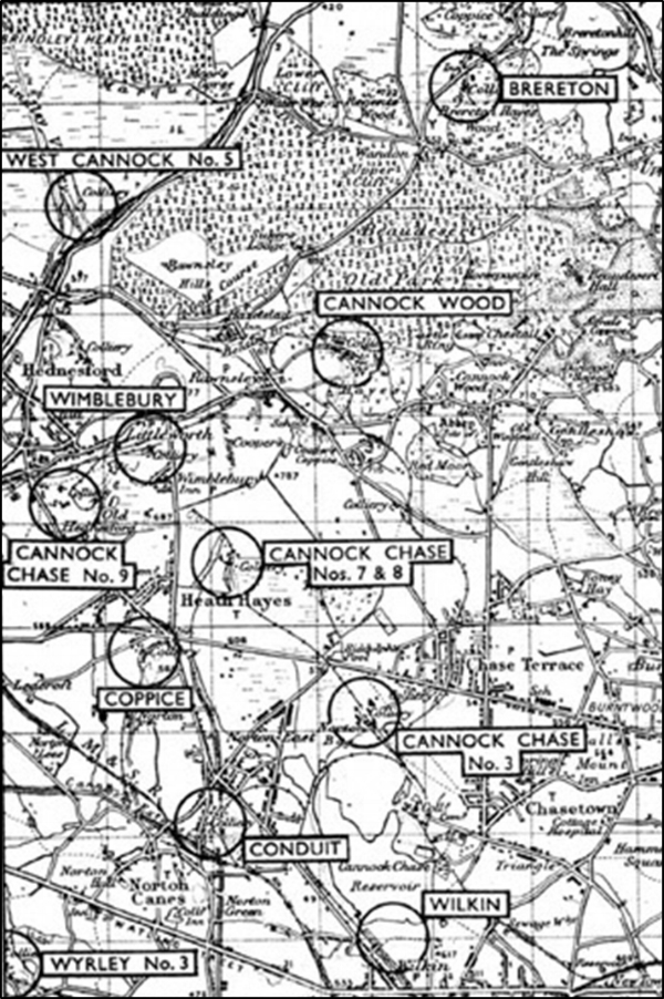 Map showing the location of mines in the Cannock area