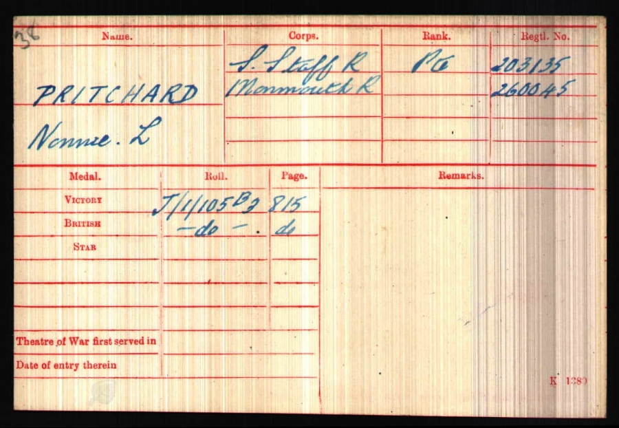 The medal card for Private Nonnie Lysons Pritchard (260045), 11th Battalion South Wales Borderers